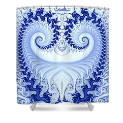 Ram's Horn Blue Shower Curtain