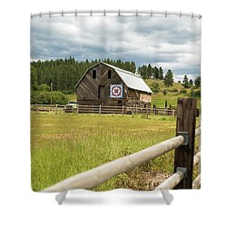 Ranch Fence And Barn With Hex Sign Shower Curtain