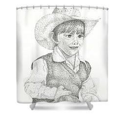 Shower Curtain featuring the drawing Ranch Hand by Mayhem Mediums
