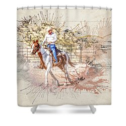 Ranch Rider Digital Art-b1 Shower Curtain