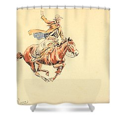 Shower Curtain featuring the painting Range Rider by Celestial Images