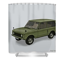 Shower Curtain featuring the mixed media Range Rover Classical 1970 by TortureLord Art