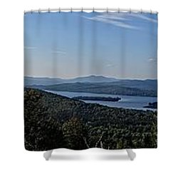 Rangeley Lake Sunset Panoramic Shower Curtain