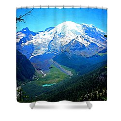 Shower Curtain featuring the photograph Ranier And Little Tahoma by Timothy Bulone