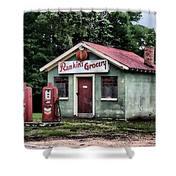 Shower Curtain featuring the painting Rankins Grocery In Watercolor by Lynne Jenkins