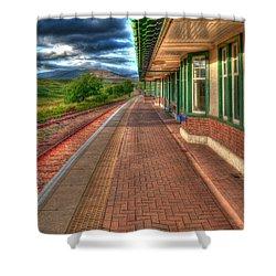 Rannoch Station Platform Shower Curtain by Chris Thaxter