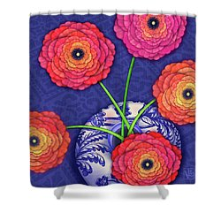 Ranunculus In Blue And White Vase Shower Curtain