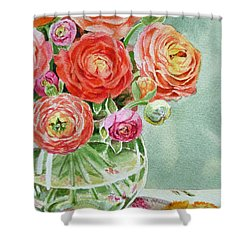 Ranunculus In The Glass Vase Shower Curtain