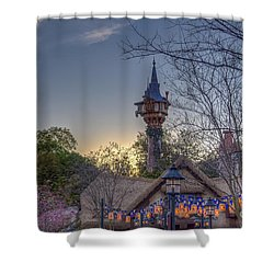 Rapunzel's Tower At Sunset Shower Curtain