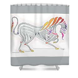 Rarin' To Go -- Stylized Medieval Prancing Horse W/ Rainbow Mane Shower Curtain