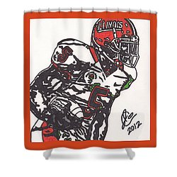Shower Curtain featuring the drawing Rashard Mendenhall 1 by Jeremiah Colley