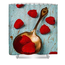 Raspberries With Antique Spoon Shower Curtain by Garry Gay
