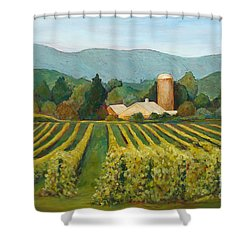 Shower Curtain featuring the painting Raspberry Rows by Phyllis Howard