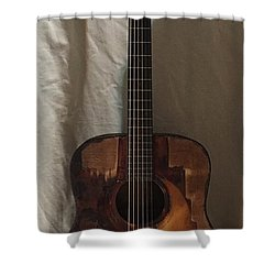 Shower Curtain featuring the mixed media Rat Guitar 2 Front by Steve  Hester