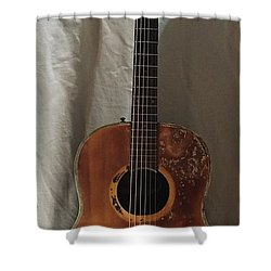 Shower Curtain featuring the mixed media Rat Guitar by Steve  Hester