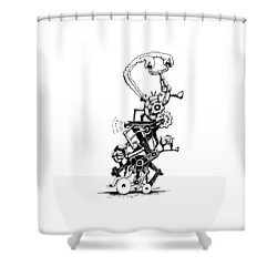 Shower Curtain featuring the drawing Rat Reverse-cycle Steam Engine by Kim Gauge