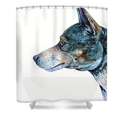 Shower Curtain featuring the painting Rat Terrier by Zaira Dzhaubaeva