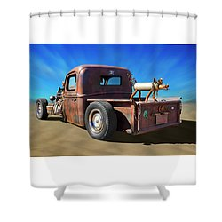 Shower Curtain featuring the photograph Rat Truck On Beach 2 by Mike McGlothlen