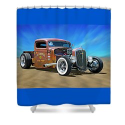Shower Curtain featuring the photograph Rat Truck On The Beach by Mike McGlothlen
