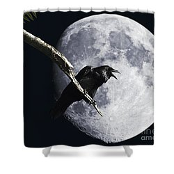 Raven Barking At The Moon Shower Curtain