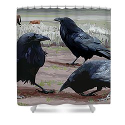 Raven Gathering Shower Curtain