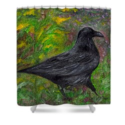 Raven In Goldenrod Shower Curtain