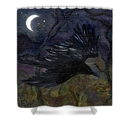 Raven In Stars Shower Curtain