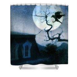 Raven Landing On Branch In Moonlight Shower Curtain by Jill Battaglia