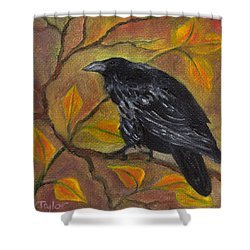 Raven On A Limb Shower Curtain