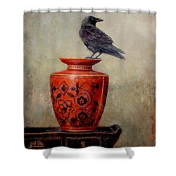 Raven On Red  Shower Curtain by Lori  McNee