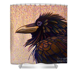Raven Shaman Shower Curtain by Brian  Commerford