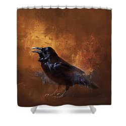 Shower Curtain featuring the painting Raven by Theresa Tahara