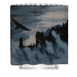 Raven Wolf Head Shower Curtain by Stanza Widen