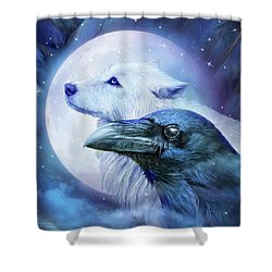Shower Curtain featuring the mixed media Raven Wolf Moon by Carol Cavalaris