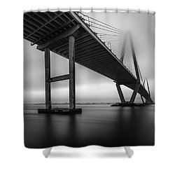 Ravenel Bridge November Fog Shower Curtain