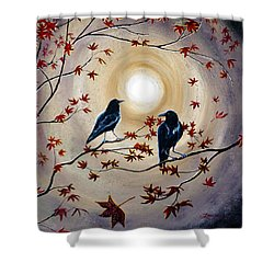 Ravens In Autumn Shower Curtain by Laura Iverson