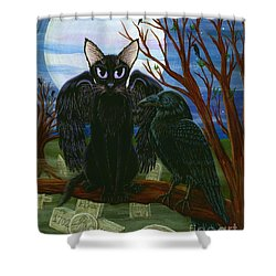 Raven's Moon Black Cat Crow Shower Curtain by Carrie Hawks