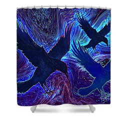 Shower Curtain featuring the painting Ravens On Blue by Teresa Ascone