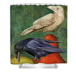 Ravens On Pears Shower Curtain by Leah Saulnier The Painting Maniac