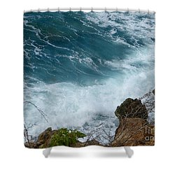 Raw Blue Power Shower Curtain