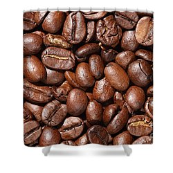 Raw Coffee Beans Background Shower Curtain