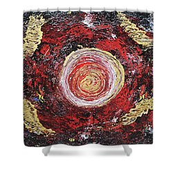 Raw Harmony Red And Gold Art Shower Curtain