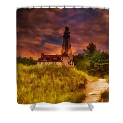 Rawley Point Lighthouse Shower Curtain by Joel Witmeyer