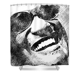 Ray Charles Bw Portrait Shower Curtain by Mihaela Pater