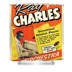 Ray Charles Rock N Roll Concert Poster 1950s Shower Curtain