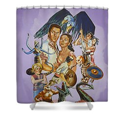 Shower Curtain featuring the painting Ray Harryhausen Tribute Seventh Voyage Of Sinbad by Bryan Bustard