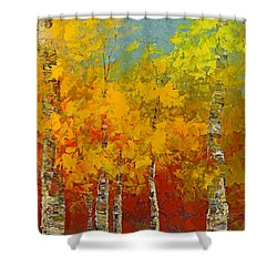 Shower Curtain featuring the painting Ray Of Gold by Tatiana Iliina