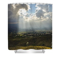 Rays Of Sunlight Lighten Up Spanish Farmland In Andalusia Spain Shower Curtain
