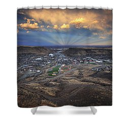 Rays Over Golden Shower Curtain