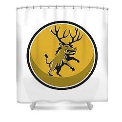 Razorback Antlers Prancing Circle Retro Shower Curtain